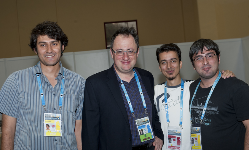 img: left, next to Mr. Boris Gelfand, IGM, former challenger, World Chess Olympiad, Istanbul, Round 7, 2012.09.05, photo by David Llada